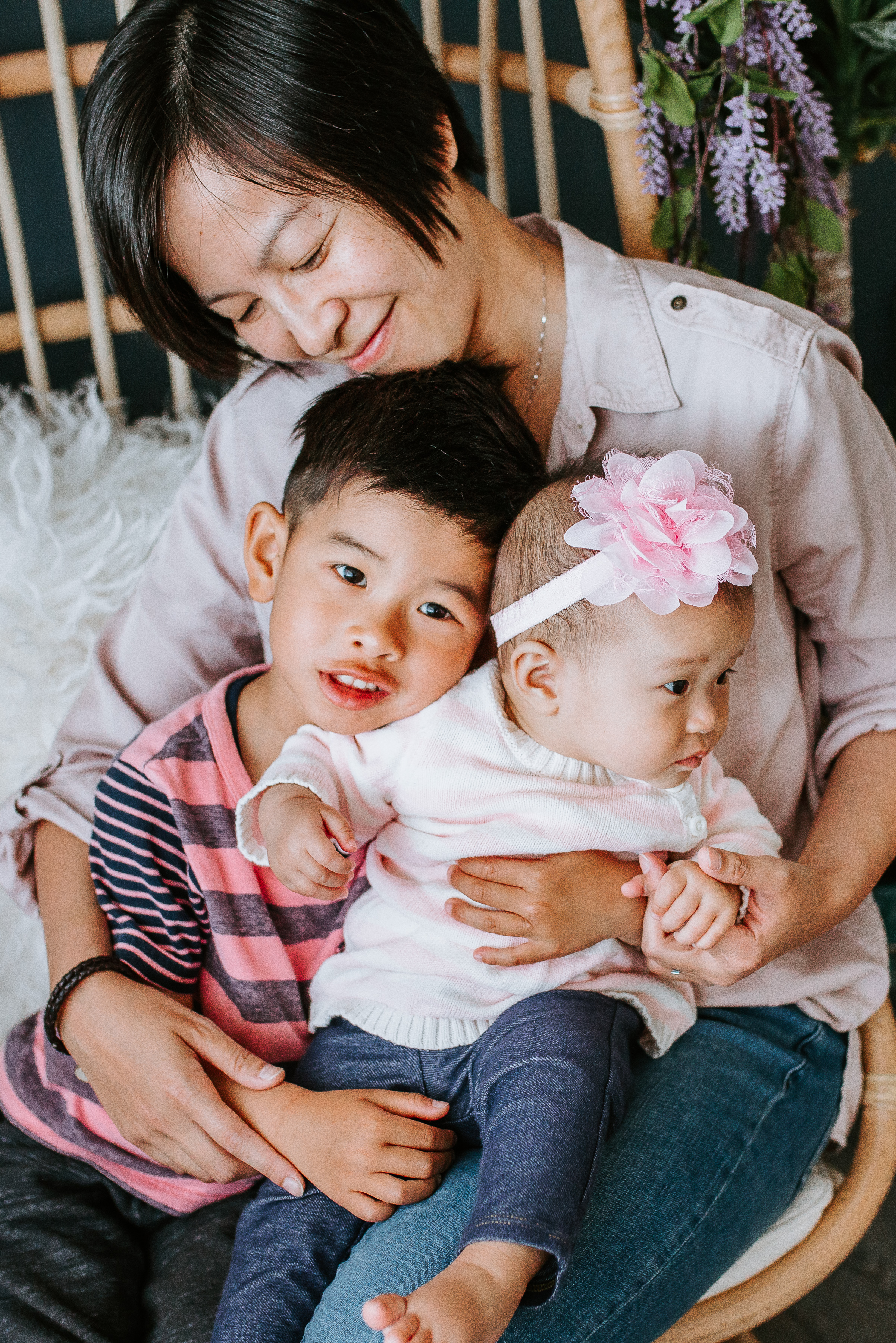 Phoebe (founder of Cantonese Fun Playgroup) with her two children